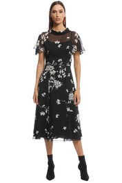 Cue - Cherry Blossom Georgette Midi Dress - Black - front