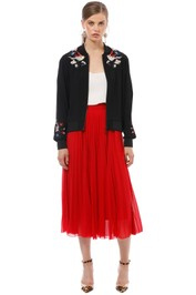 Cue - Crepe Embroidered Bomber - Black - Front