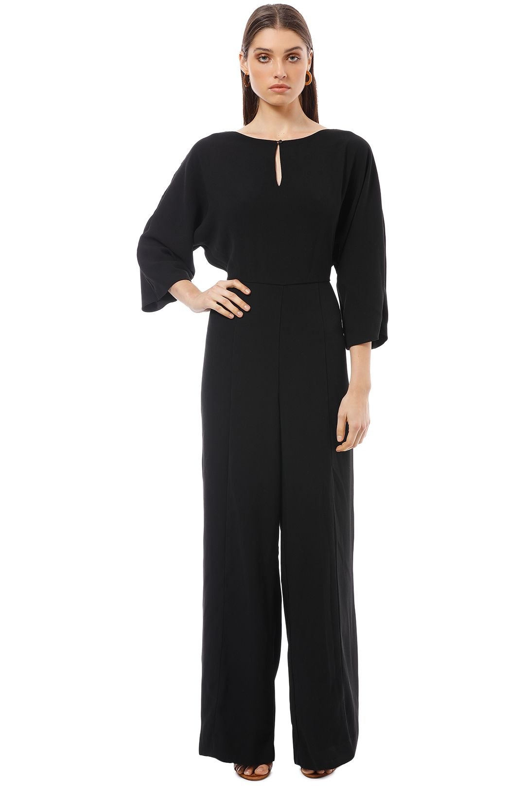 Cue - Crepe Magyar Sleeve Jumpsuit - Black - Front