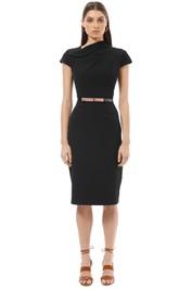 Cue - Draped Neck Pencil Dress - Black - Front