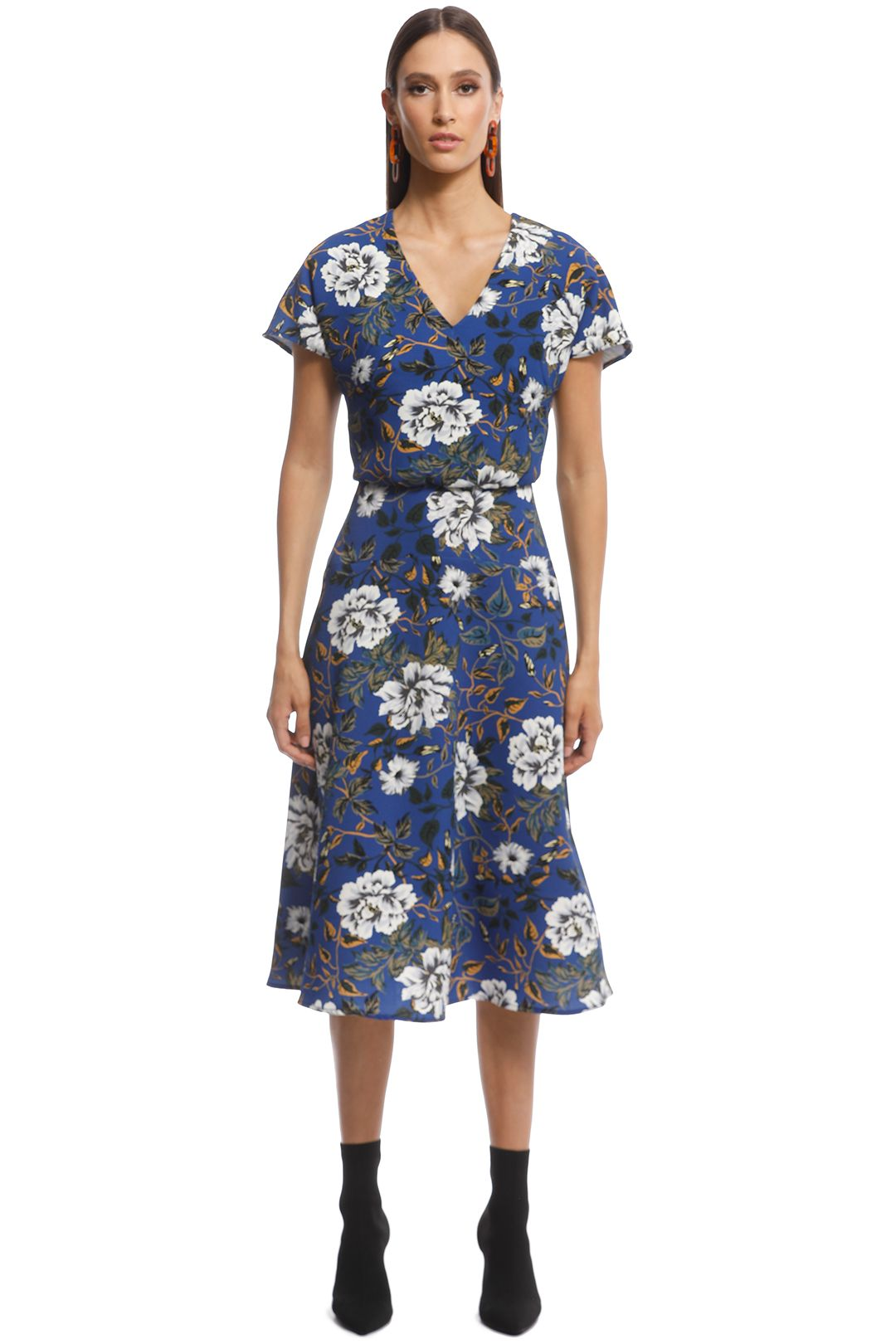 Cue - Floral Crepe Midi Dress - Blue - Front
