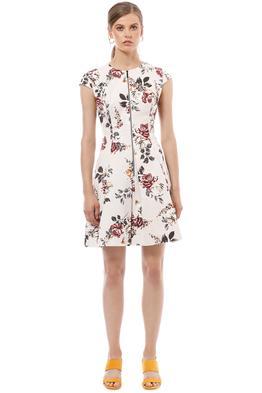 Cue - Floral Ottoman Zip Front Dress - Cream Floral - Front