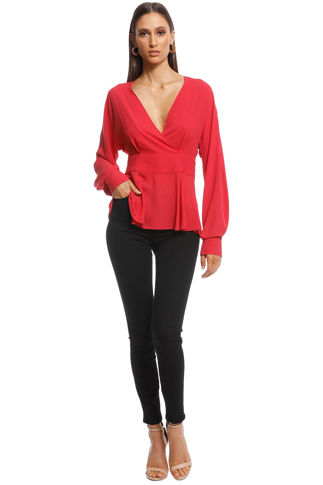 Cue - Georgette Exaggerated Sleeve Peplum Top - Pink - Front
