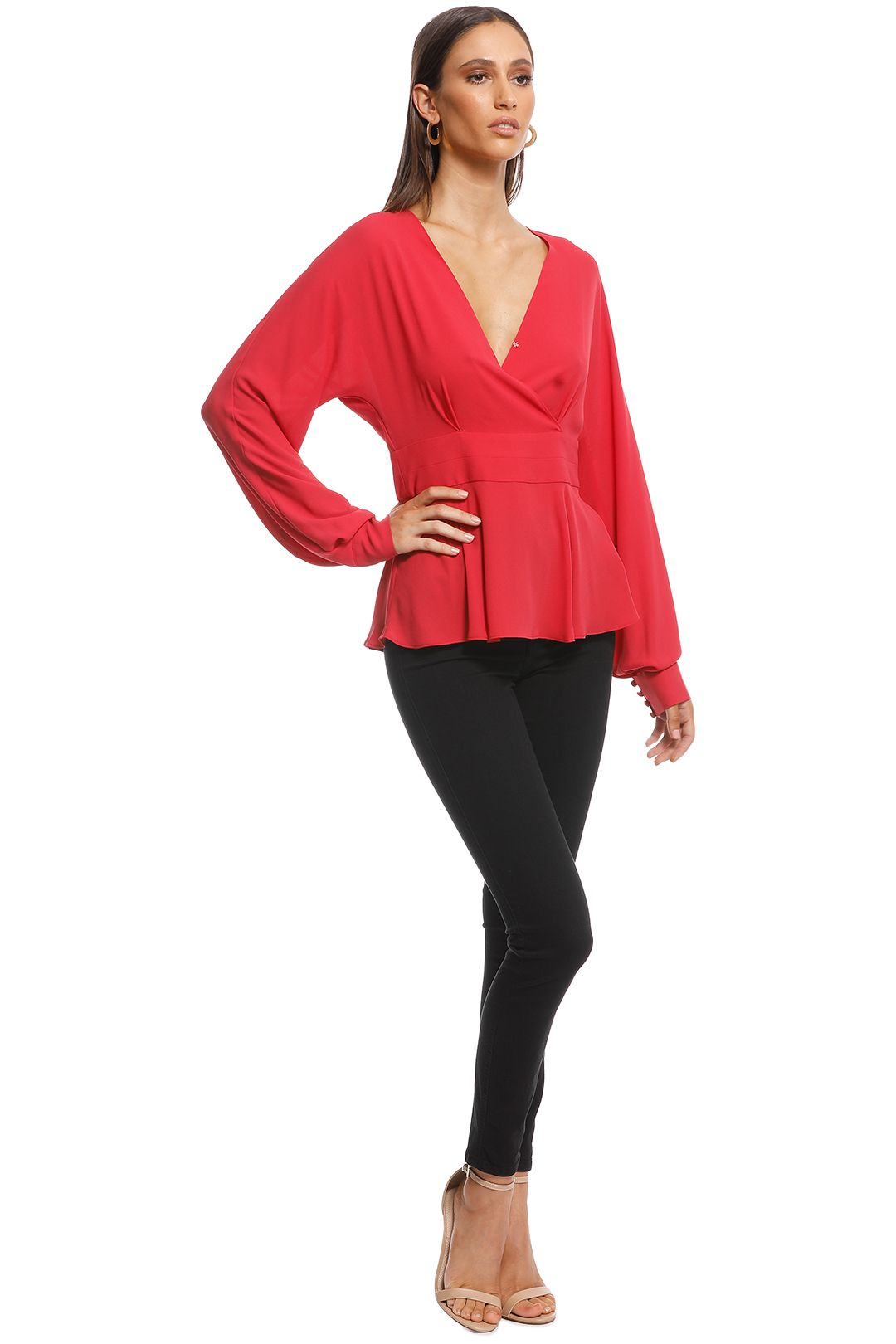 Cue - Georgette Exaggerated Sleeve Peplum Top - Pink - Side