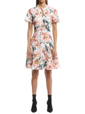 Cue - Painted Floral Tucked Sleeve Dress - Blush - Front