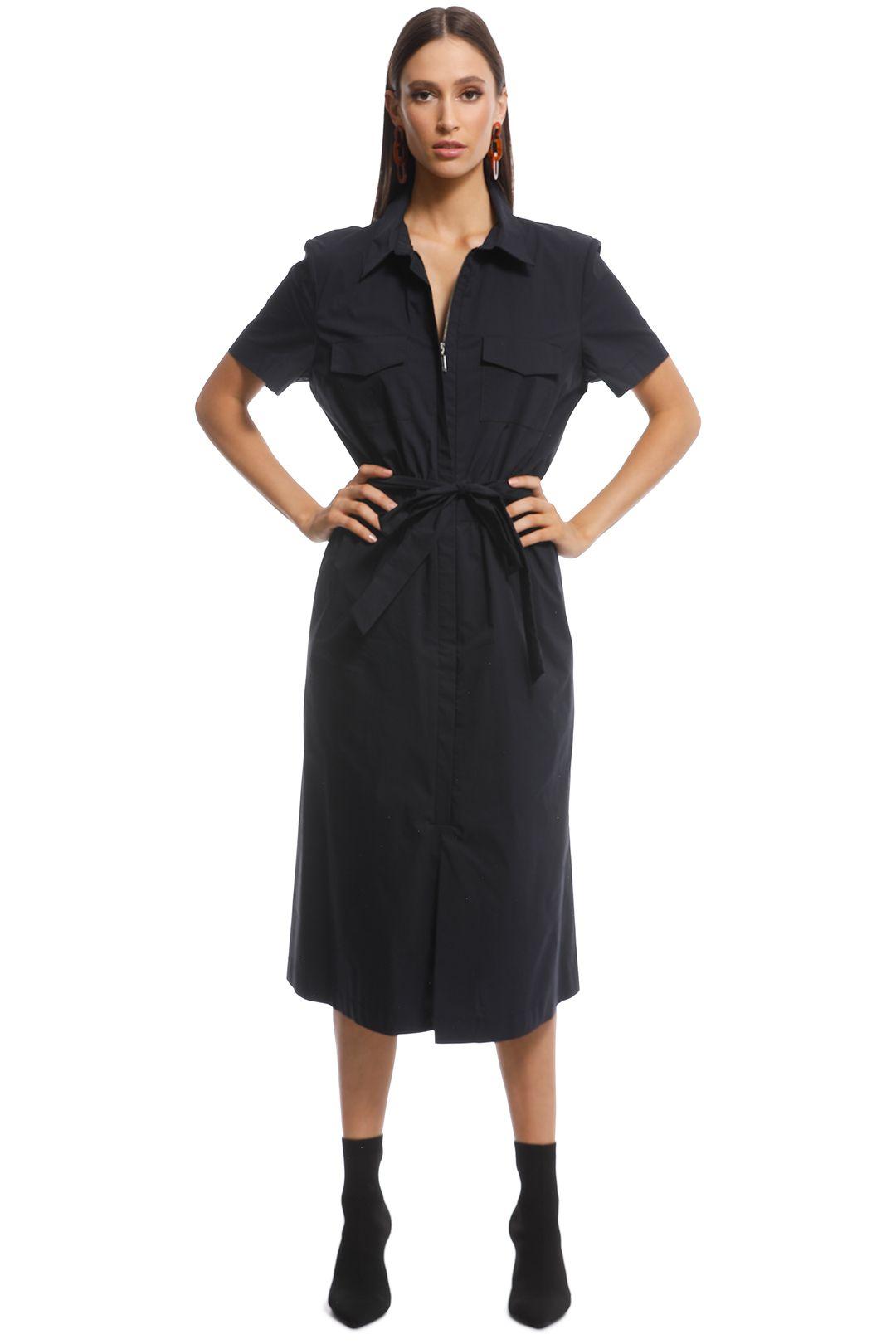 Cue - Safari Midi Dress - Black - Front