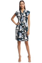 Cue - Textured Geo Spot Dress - Multi - Front