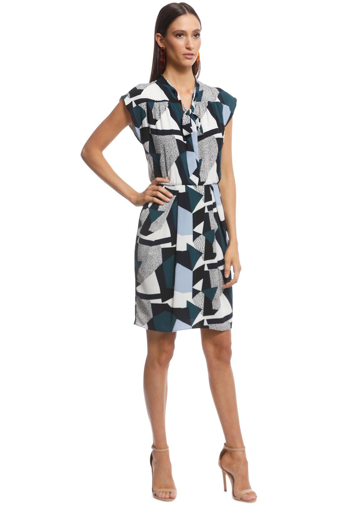 Cue - Textured Geo Spot Dress - Multi - Side