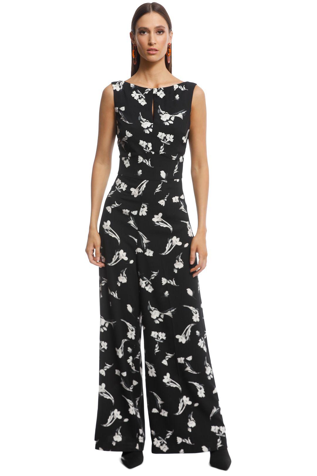 Cue - Tonal Floral Jumpsuit - Black Floral - Front
