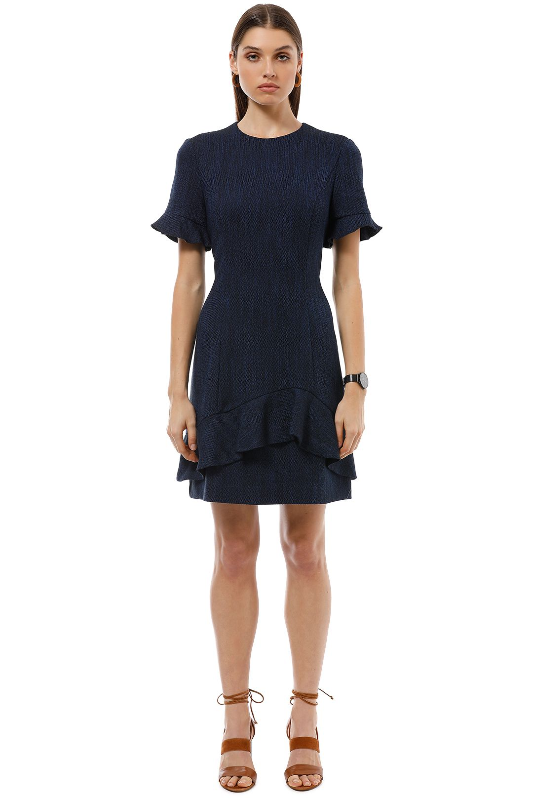 Cue - Tweed Asymmetric Frill Dress - Blue - Front