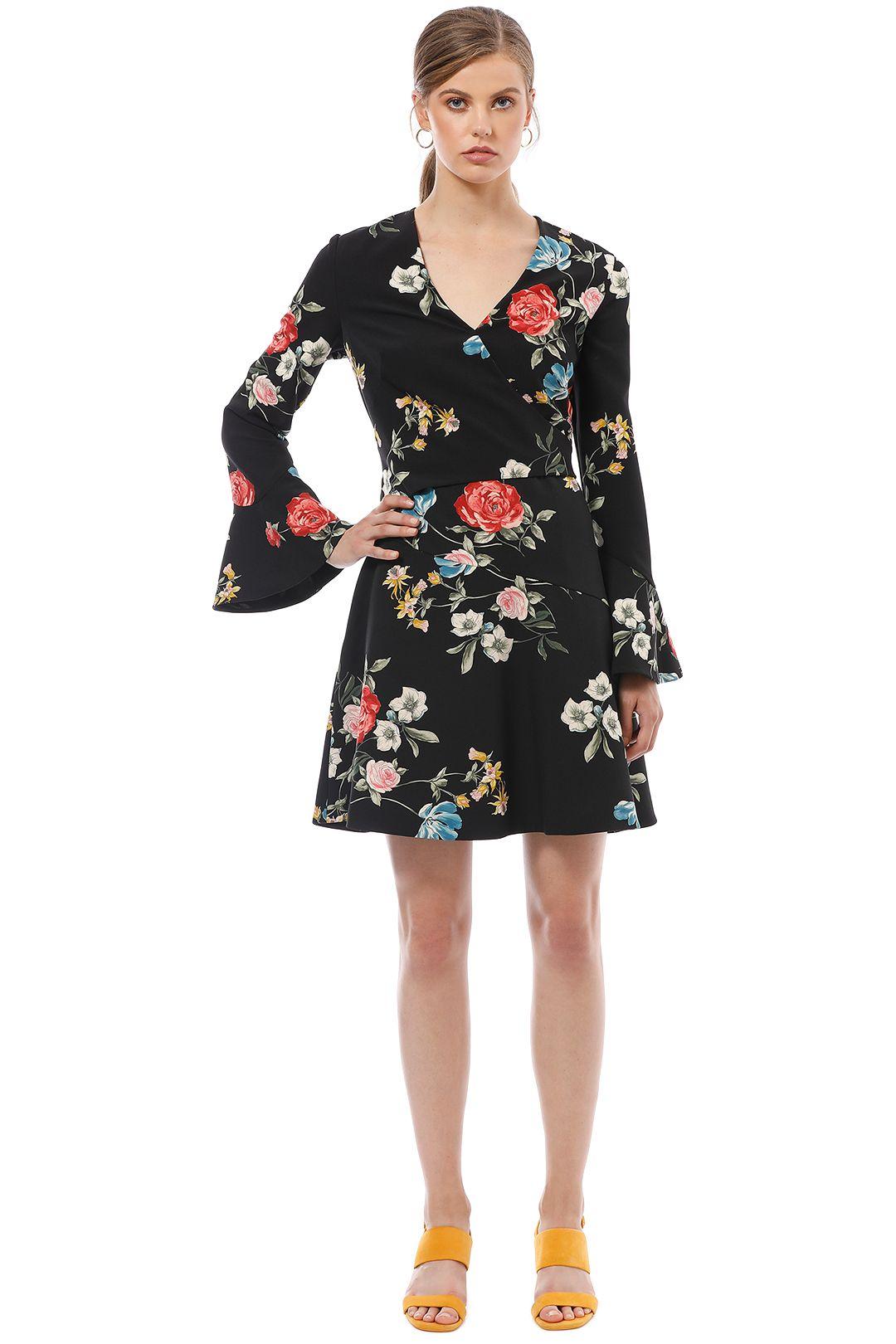 Cue - Watercolour Rose Long Sleeve Dress - Black Floral - Front