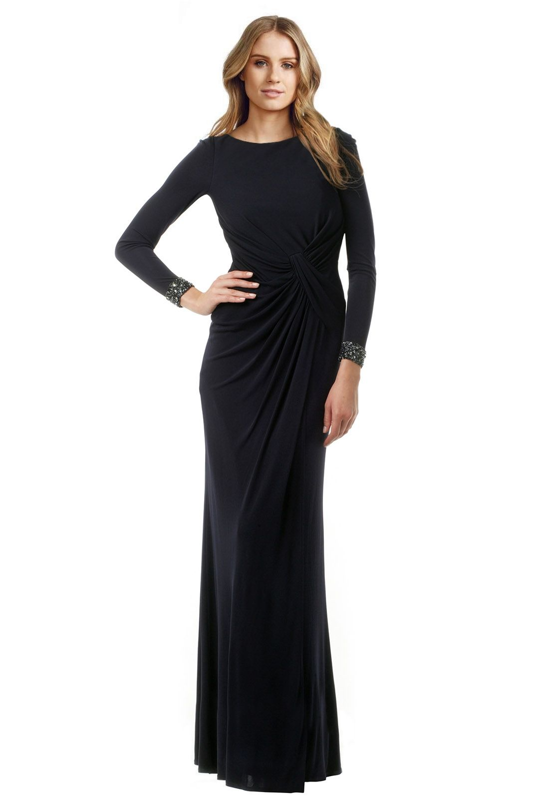David Meister - Cuff Out Back Gown  - Navy - Front