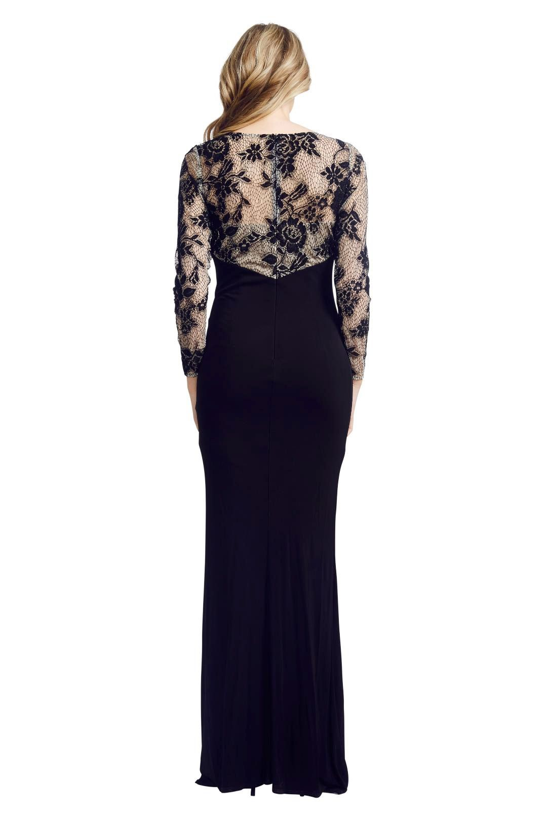 David Meister - Illusion Lace Gown - Black - Back3