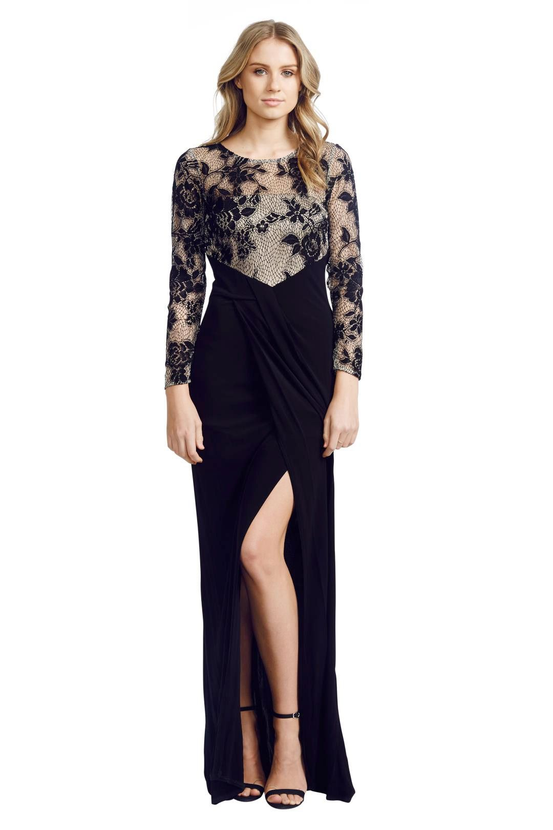 David Meister - Illusion Lace Gown - Black - Front