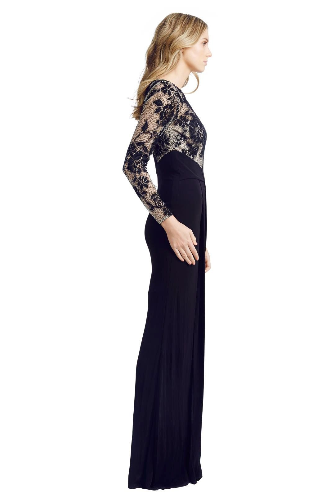 David Meister - Illusion Lace Gown - Black - Side