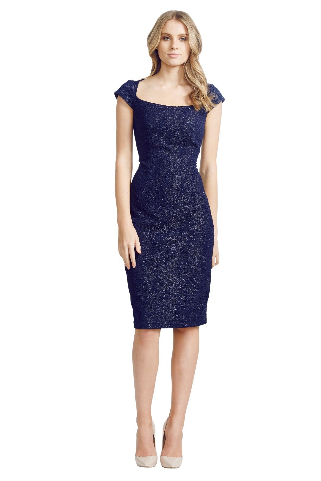 David Meister - Jacquard Dress - Blue - FroNT