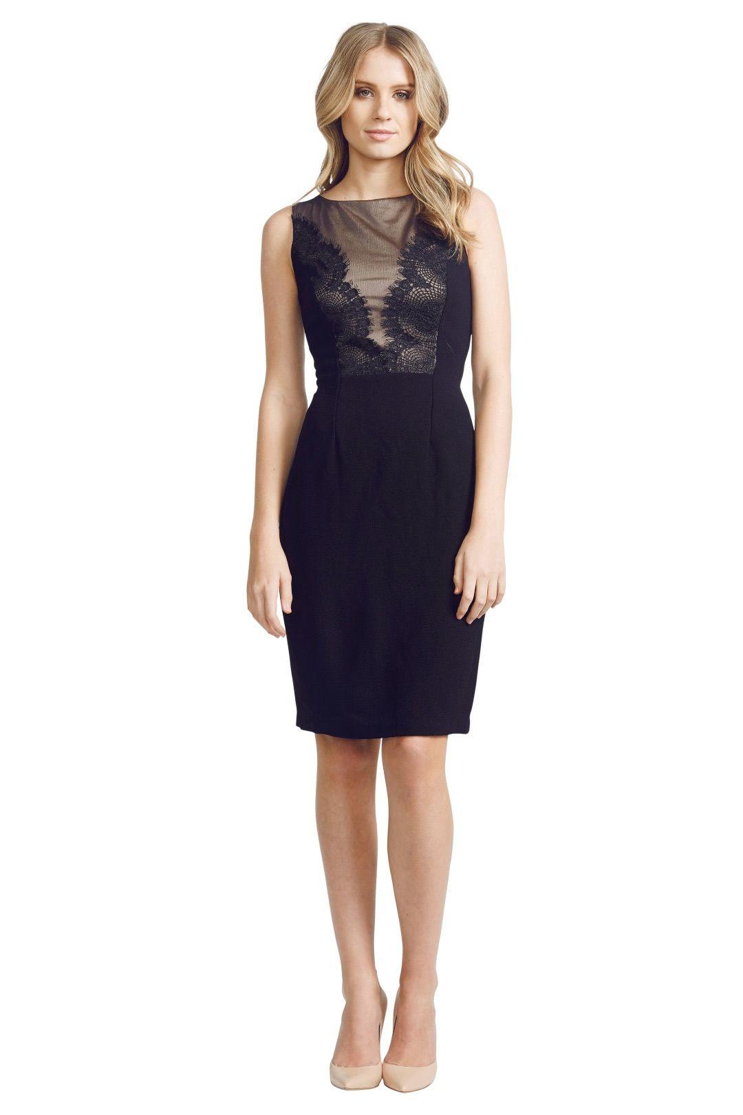David  Meister  - Lace Panel Dress - Black - Front