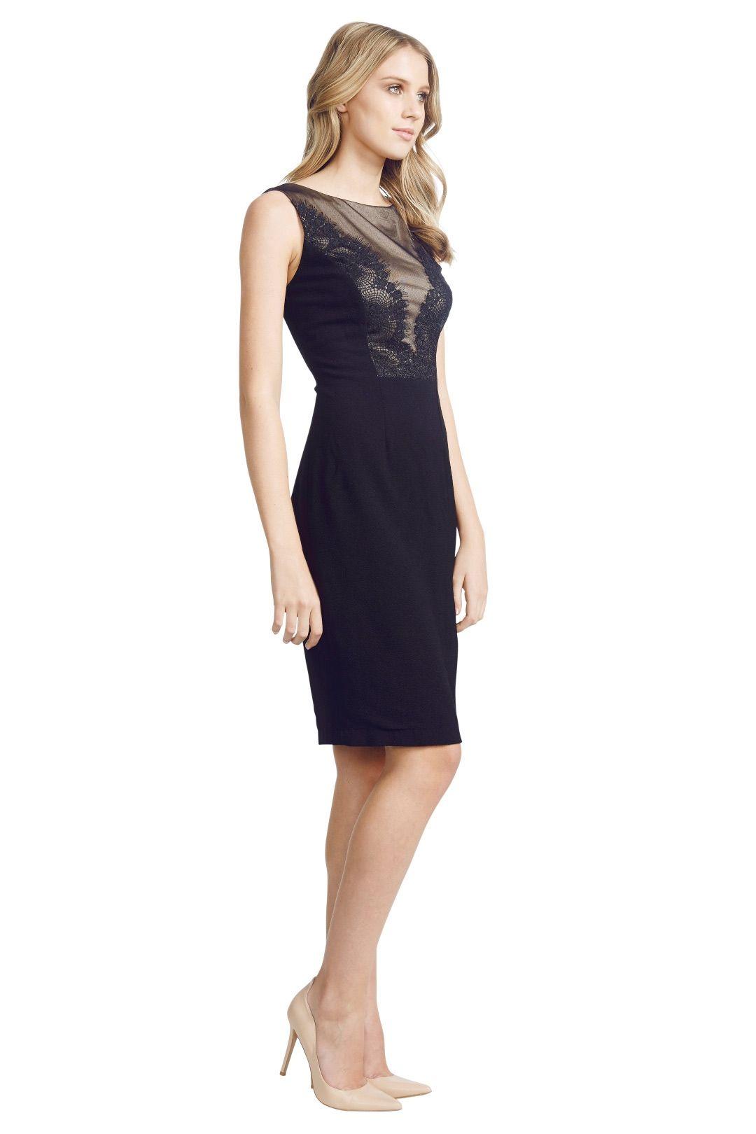 David  Meister  - Lace Panel Dress - Black - Side