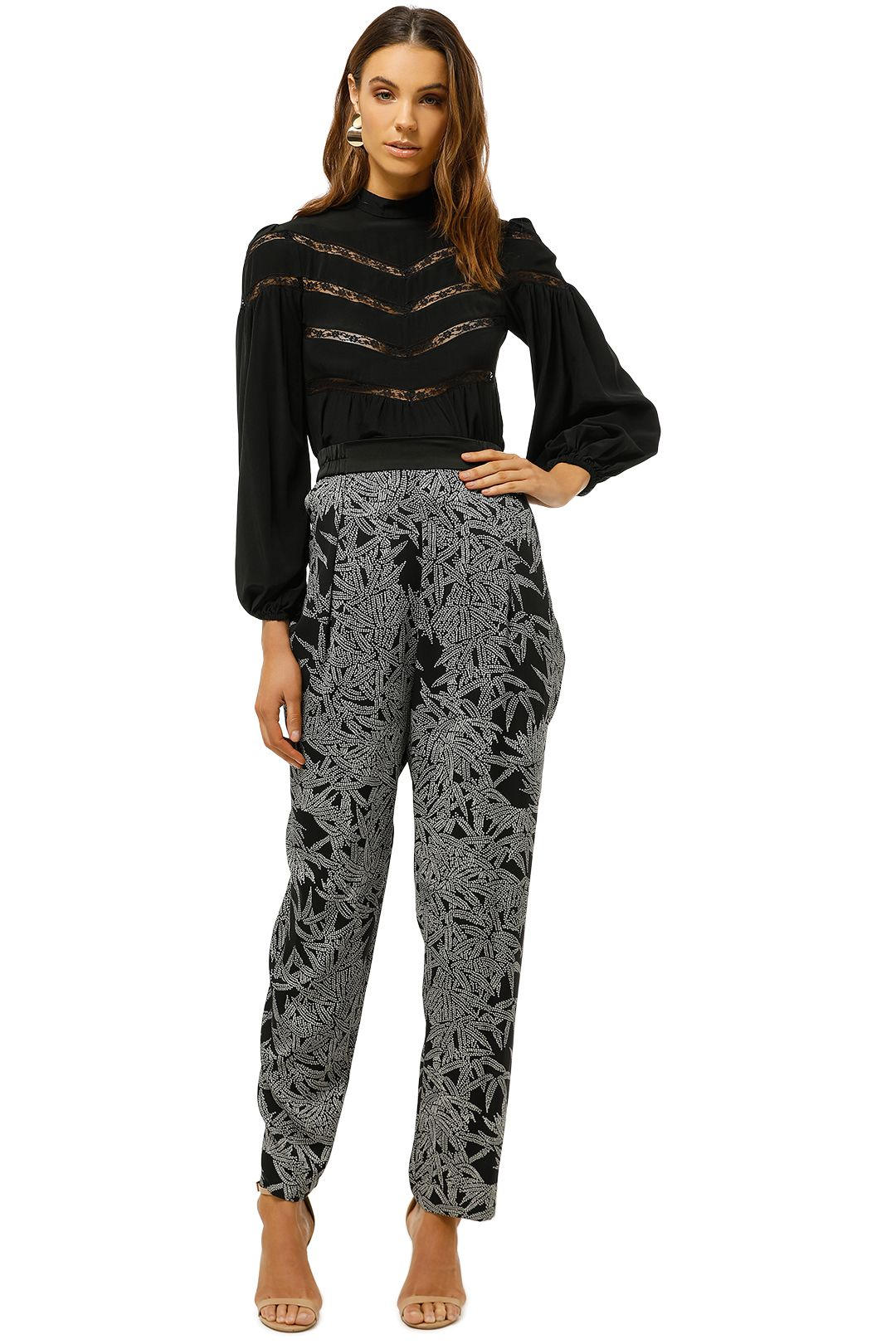 Diane-Von-Furstenberg-Printed-Silk-Blend-Crepe-Tapered-Pants-Black-Print-Front