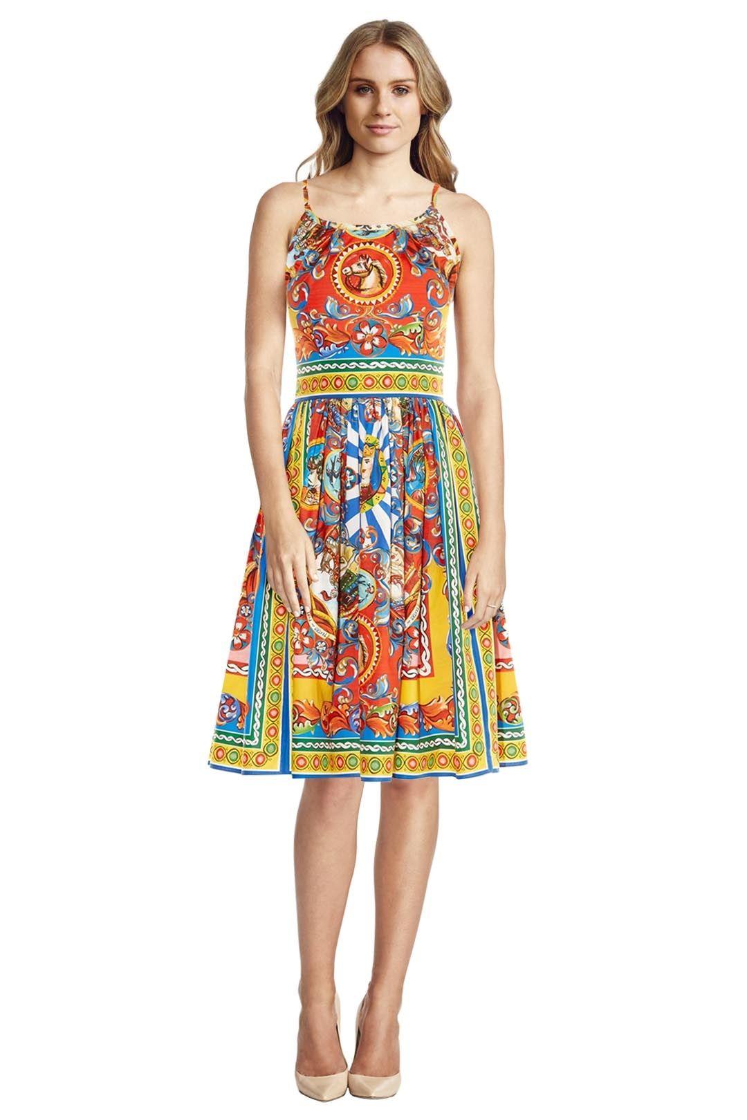 Dolce & Gabbana - Carretto Print Sleeveless Dress - Prints - Front