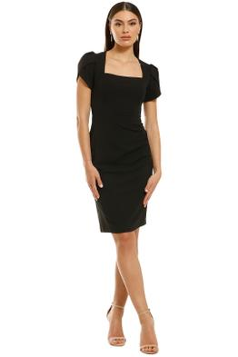Donna-Morgan-Short-Sleeve-Crepe-Sheath-Dress-Black-Front