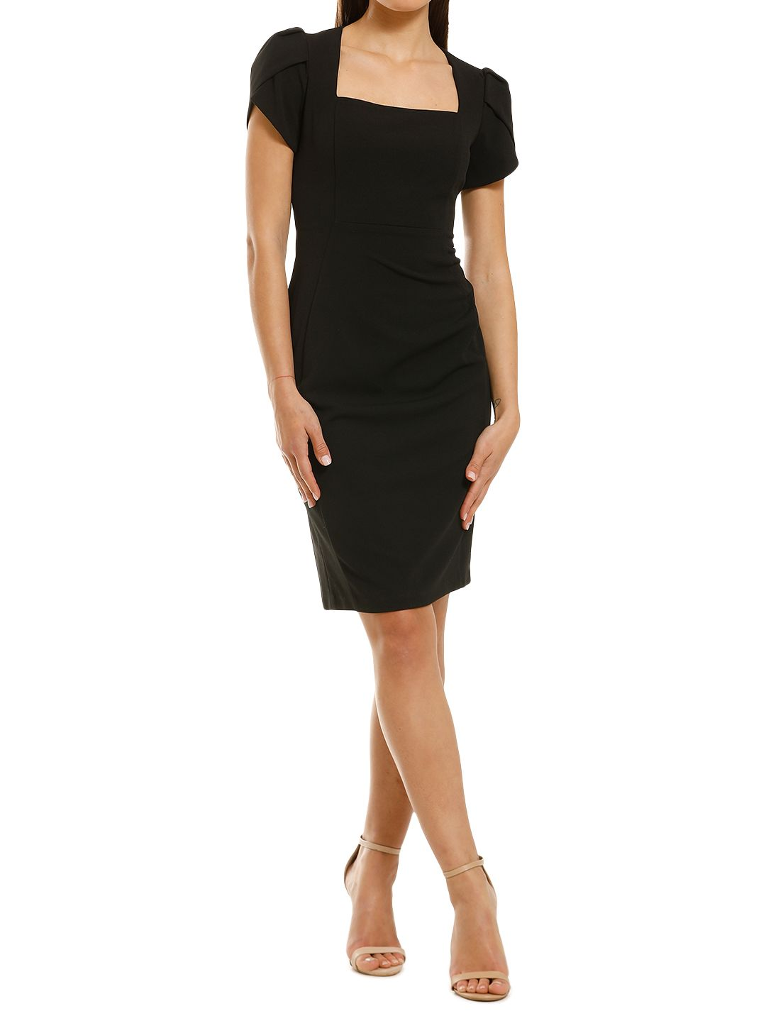 Donna-Morgan-Short-Sleeve-Crepe-Sheath-Dress-Black-Front