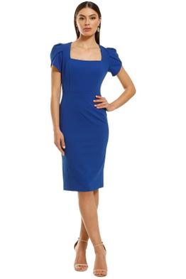 Donna-Morgan-Short-Sleeve-Crepe-Sheath-Dress-Blue-Sapphire-Front