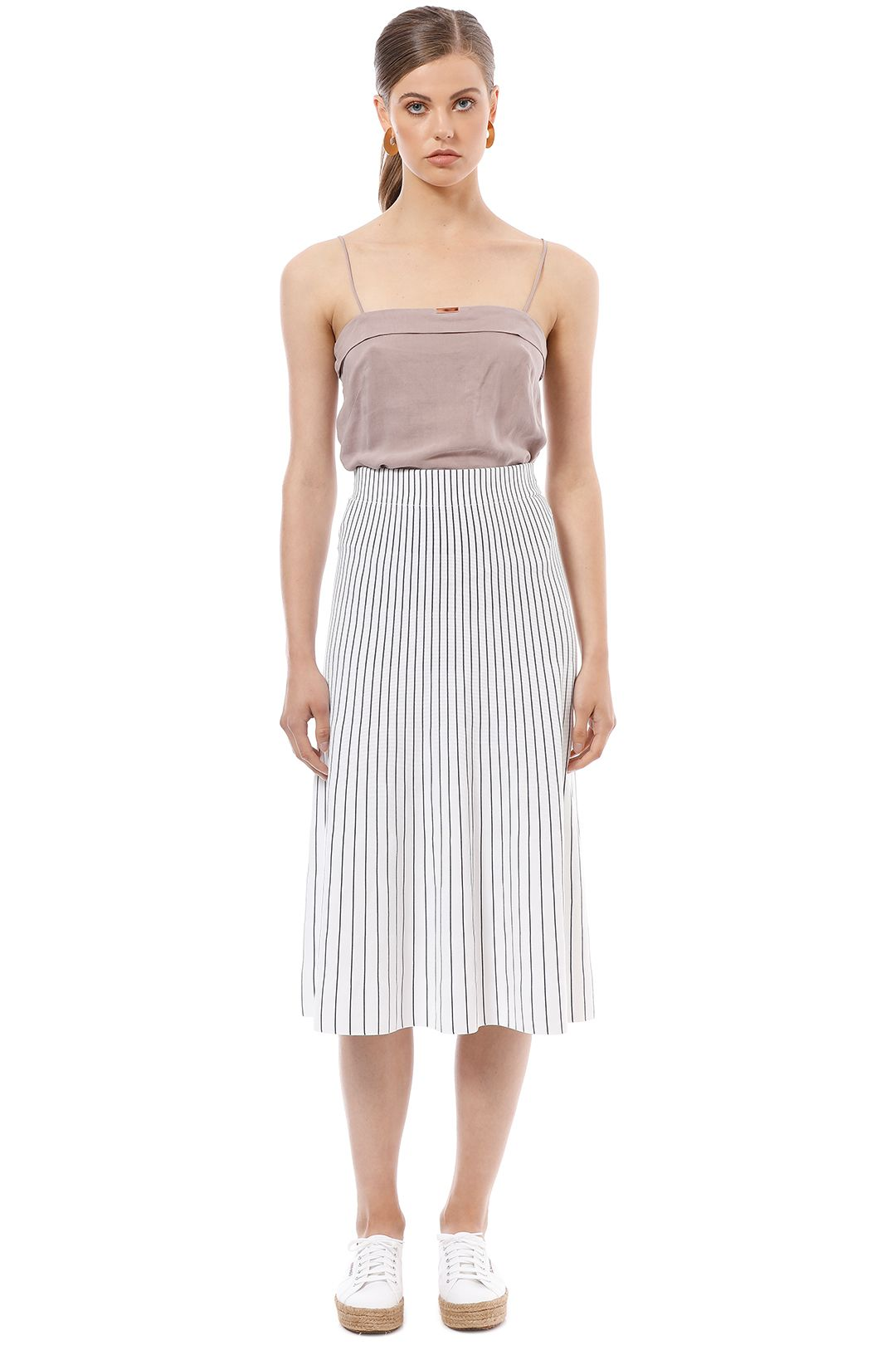 Elka Collective - Ruby Skirt - White Stripe - Front