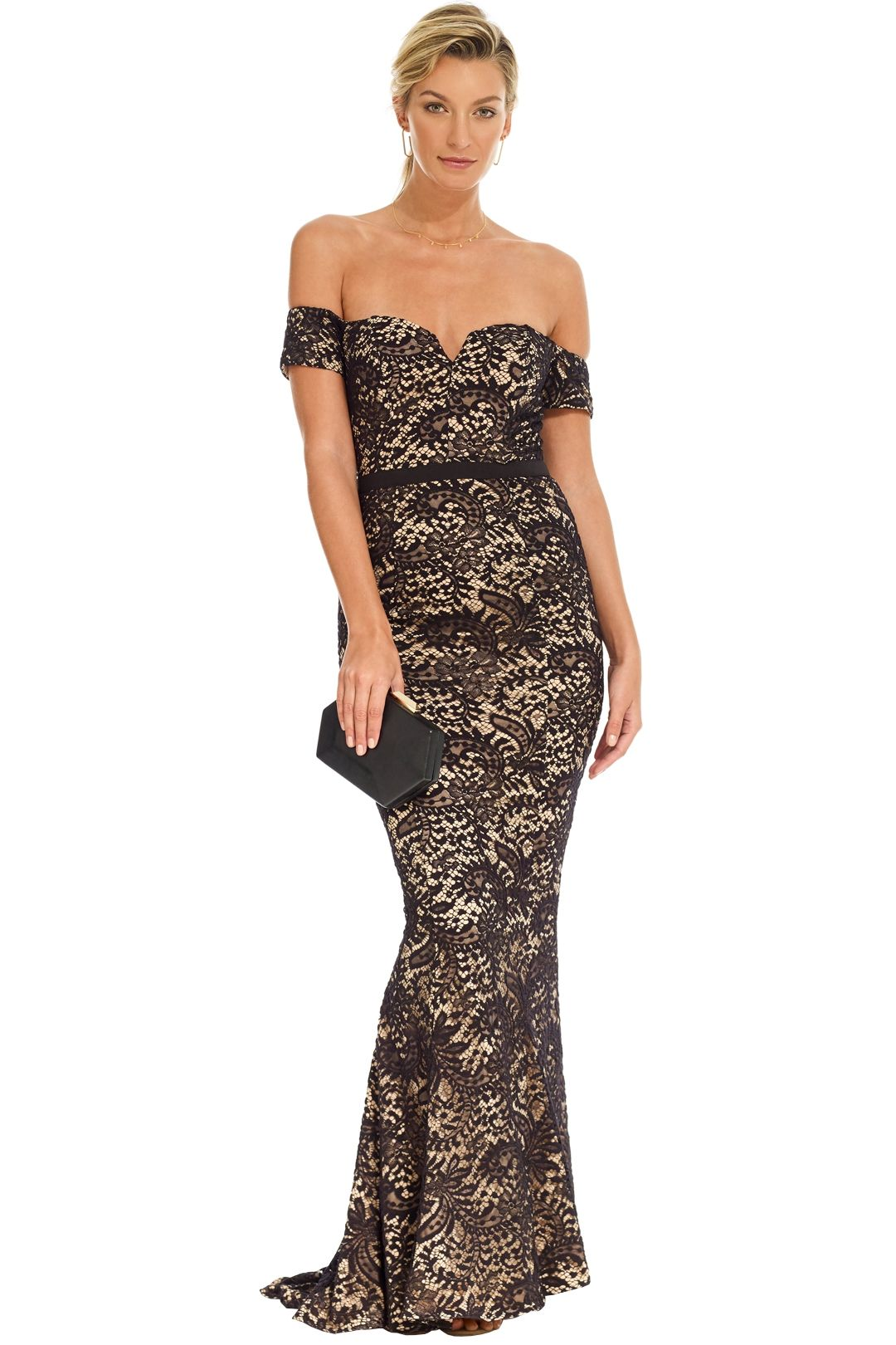 Elle Zeitoune - Off Shoulder Gown - Black Nude - Front