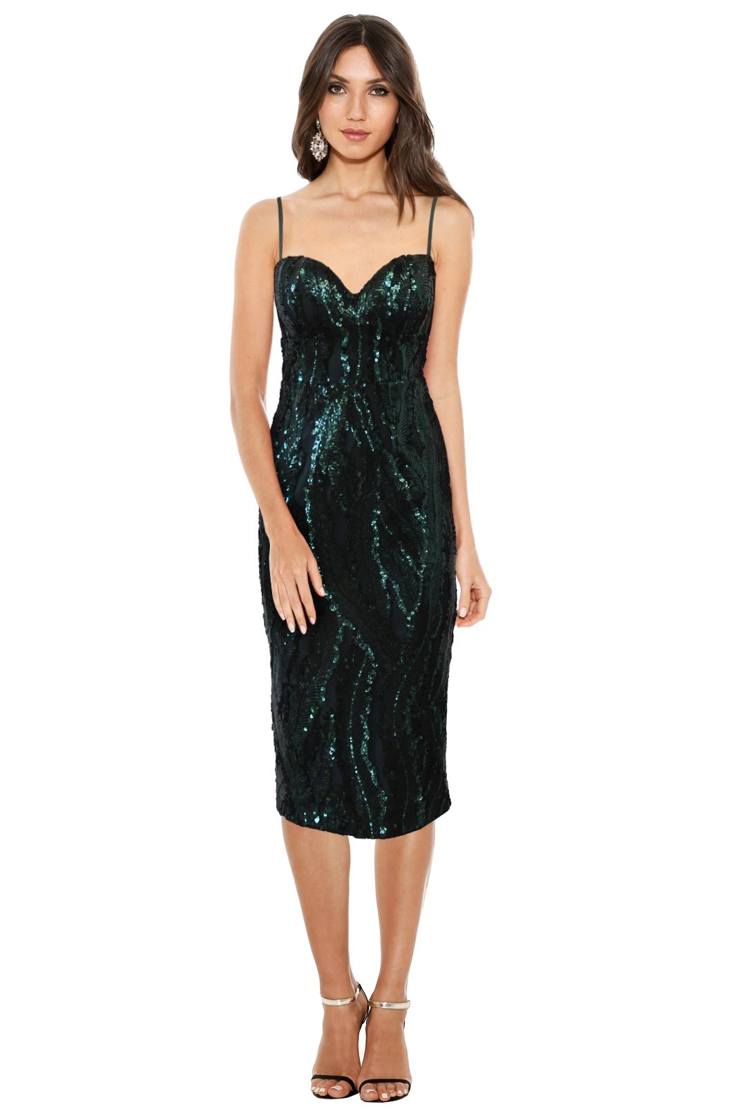 Elle Zeitoune - Tara Sequin Dress - Green - Front