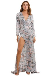 Elle Zeitoune Fontaine High Split Gown Floral
