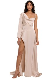 Elle Zeitoune Pearl One Sleeve Gown asymmetric