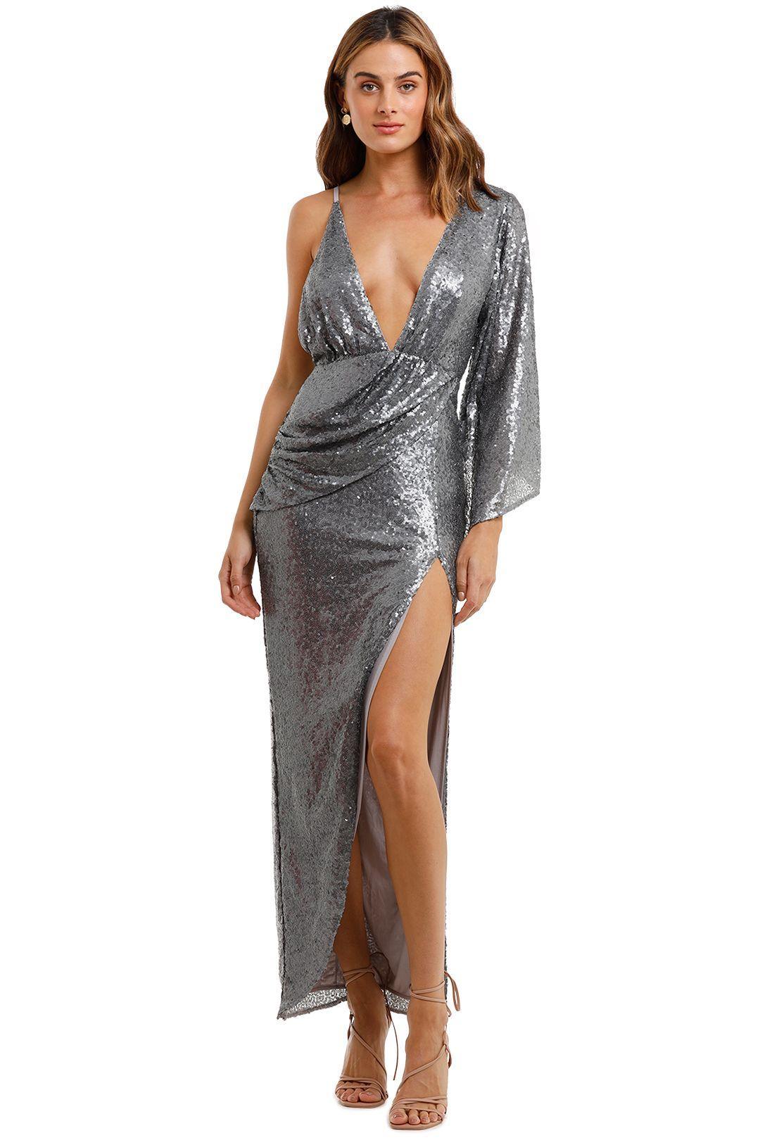 Elle Zeitoune Tinley Dresssequin Gown Silver Sequin