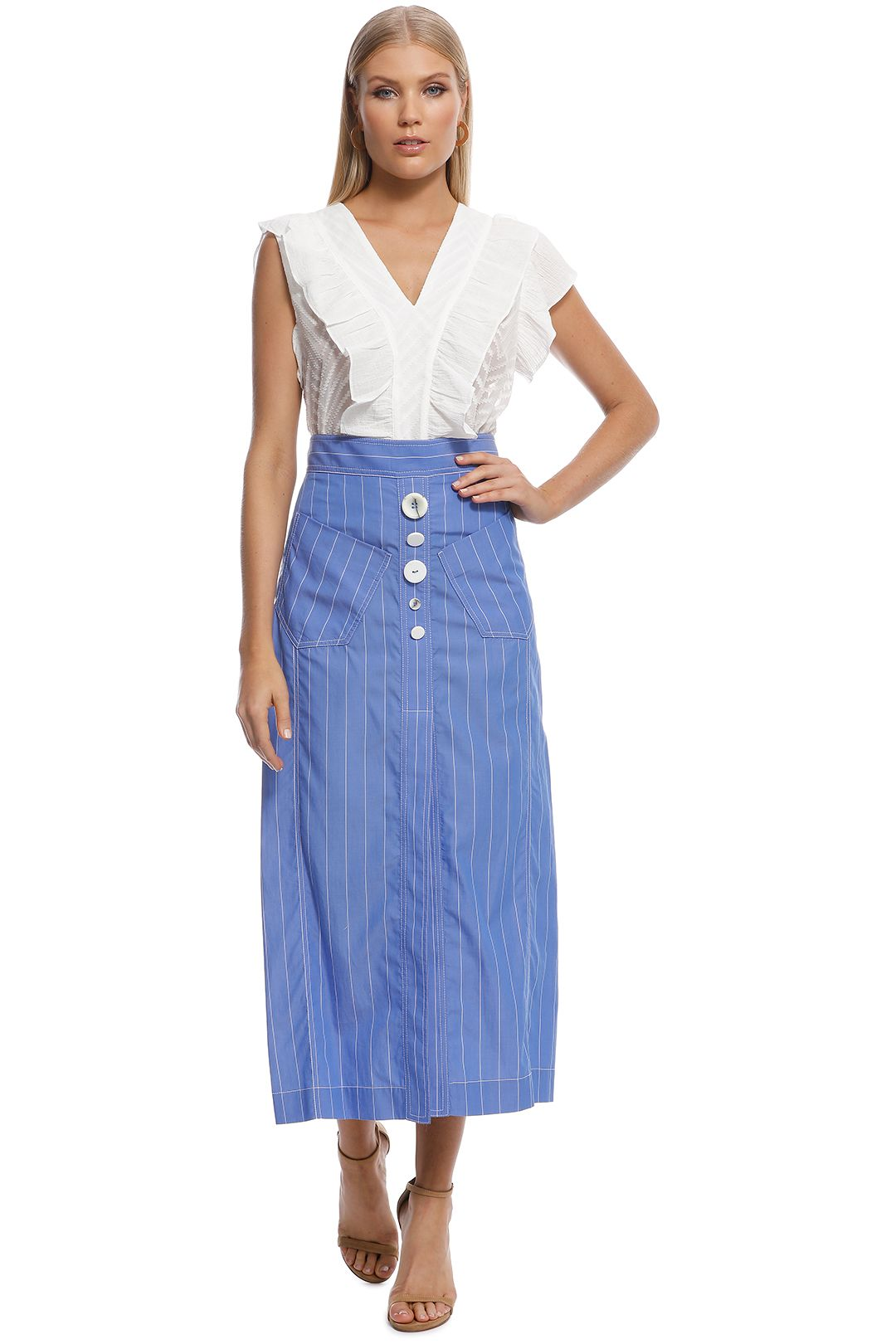 Ellery - Aggie A-Line Skirt - Blue - Front
