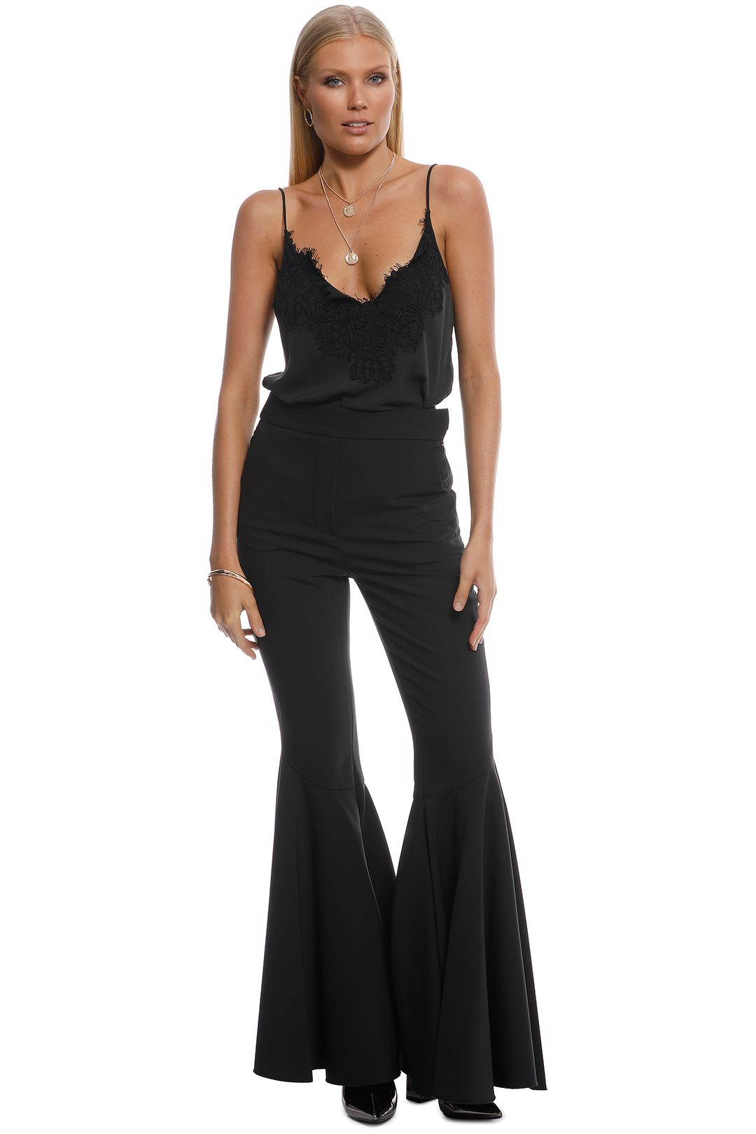 Ellery - Jacuzzi Extra Wide Wool Flare Pants - Black - Front