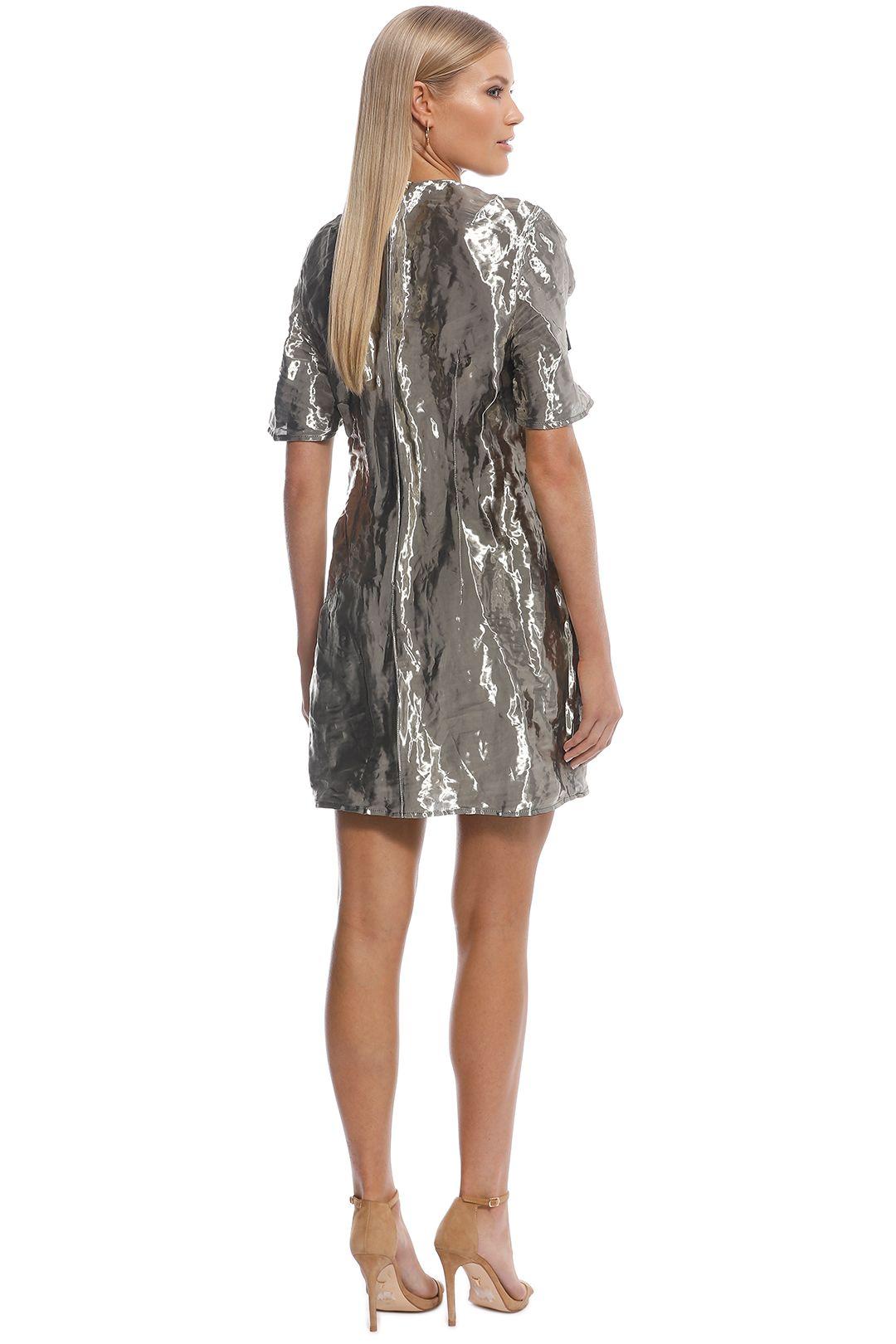 Ellery - Metal SS Mini Dress - Silver - Back