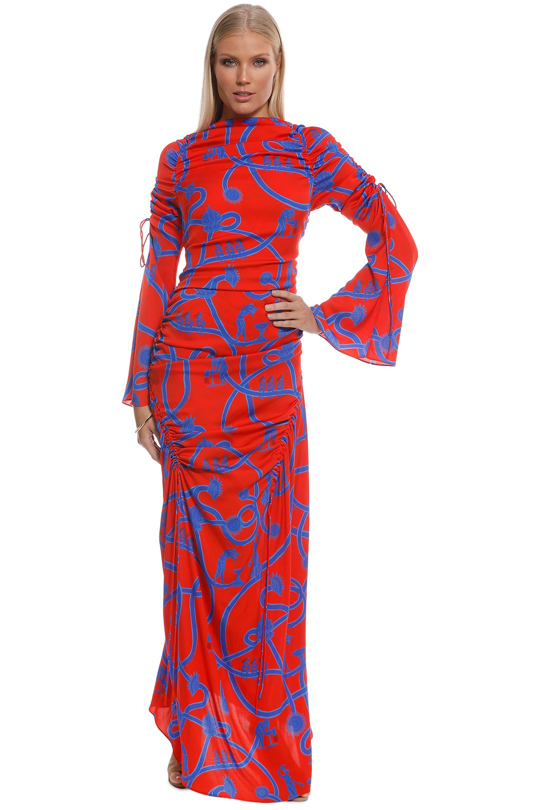 Ellery - Rocket Women Rouched Dress - Red - Front