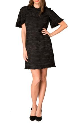Ellery - Sansone Cape Sleeve Dress - Black - Front
