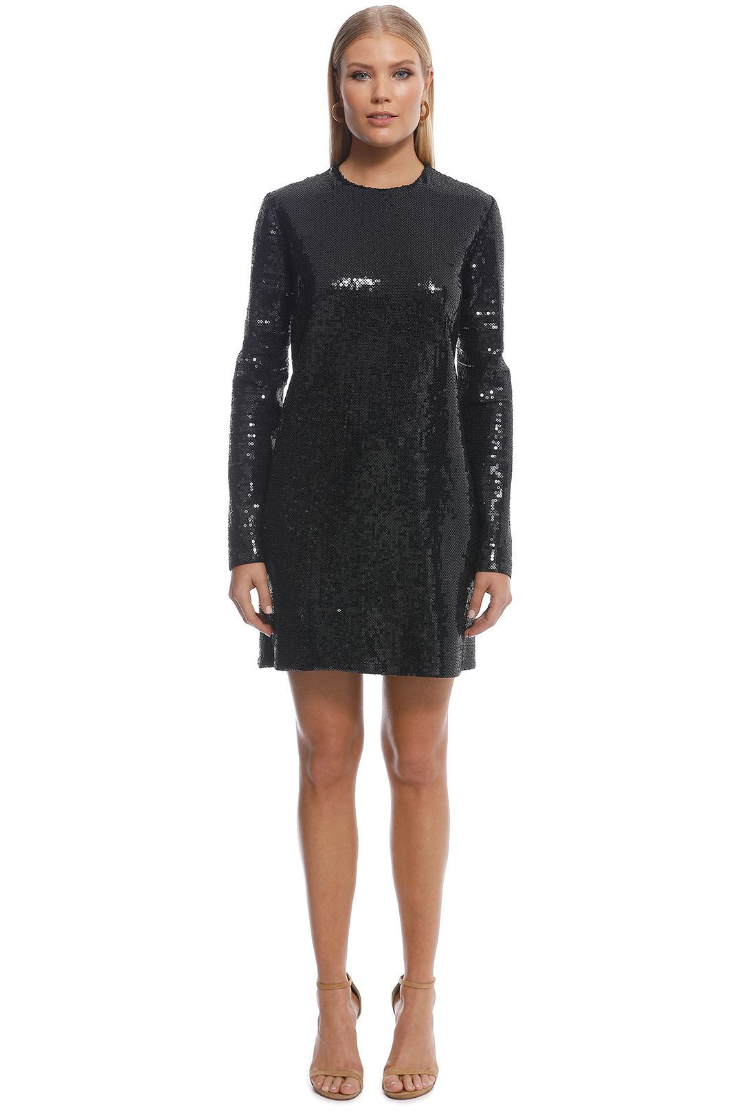 Ellery - Sequin LS Mini Dress - Black - Front