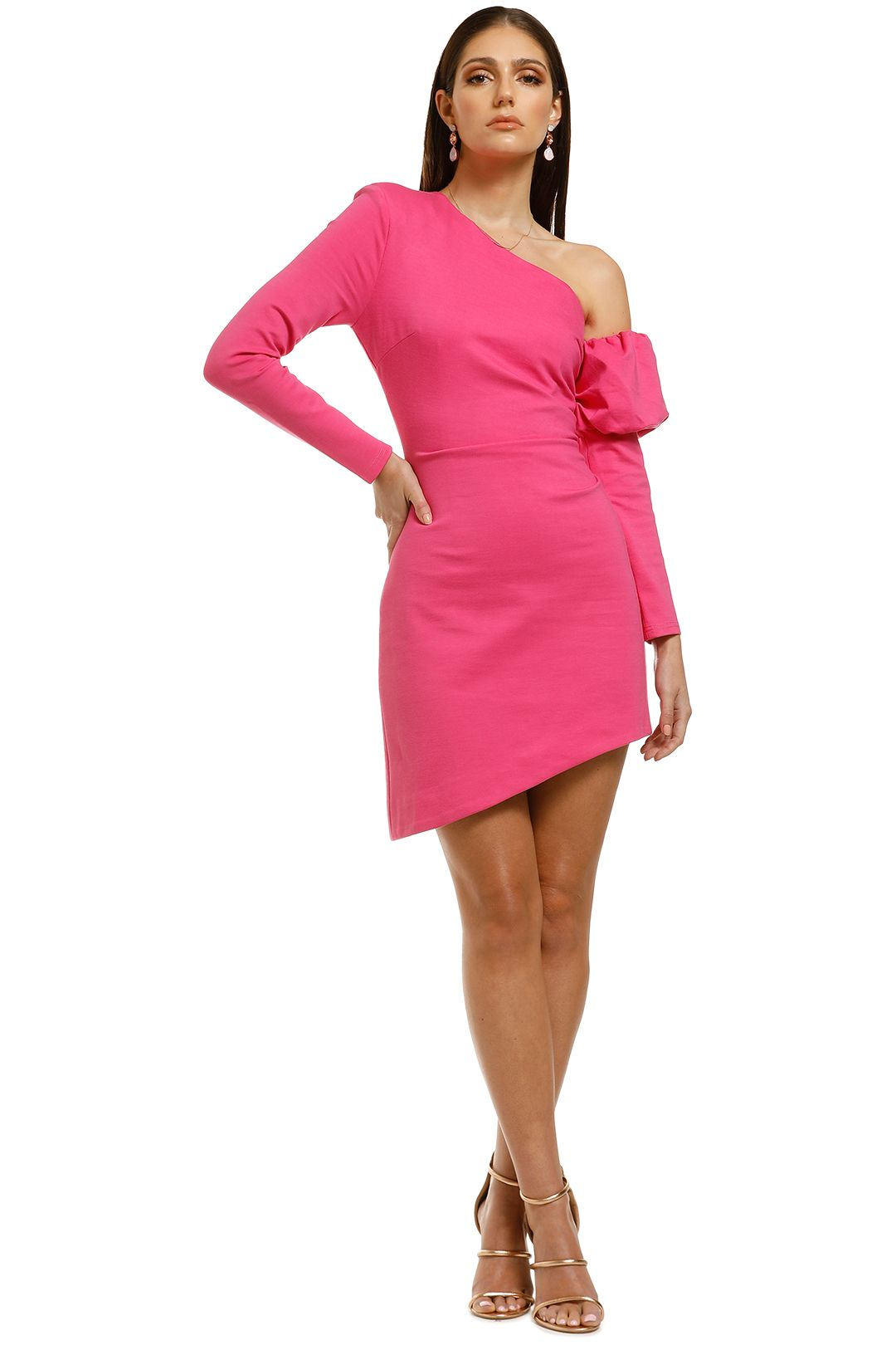 Elliatt-Basin-Dress-Hot-Pink-Front