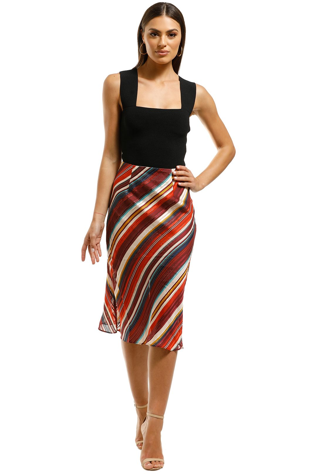 Elliatt-Edie-Skirt-Stripe-Multi-Front