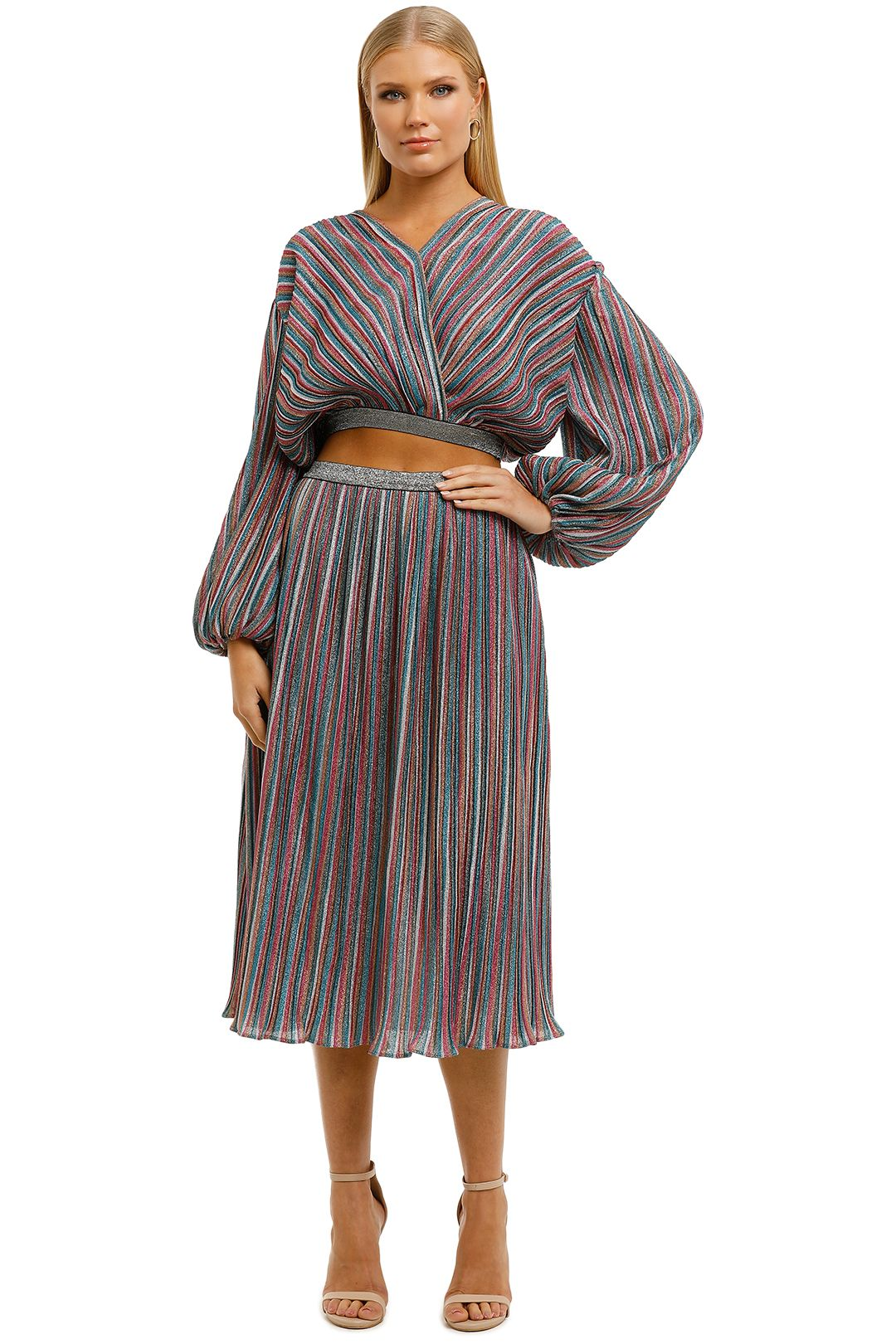 Elliatt-Fleur-Top-and-Skirt-Set-Multi-Stripe-Front