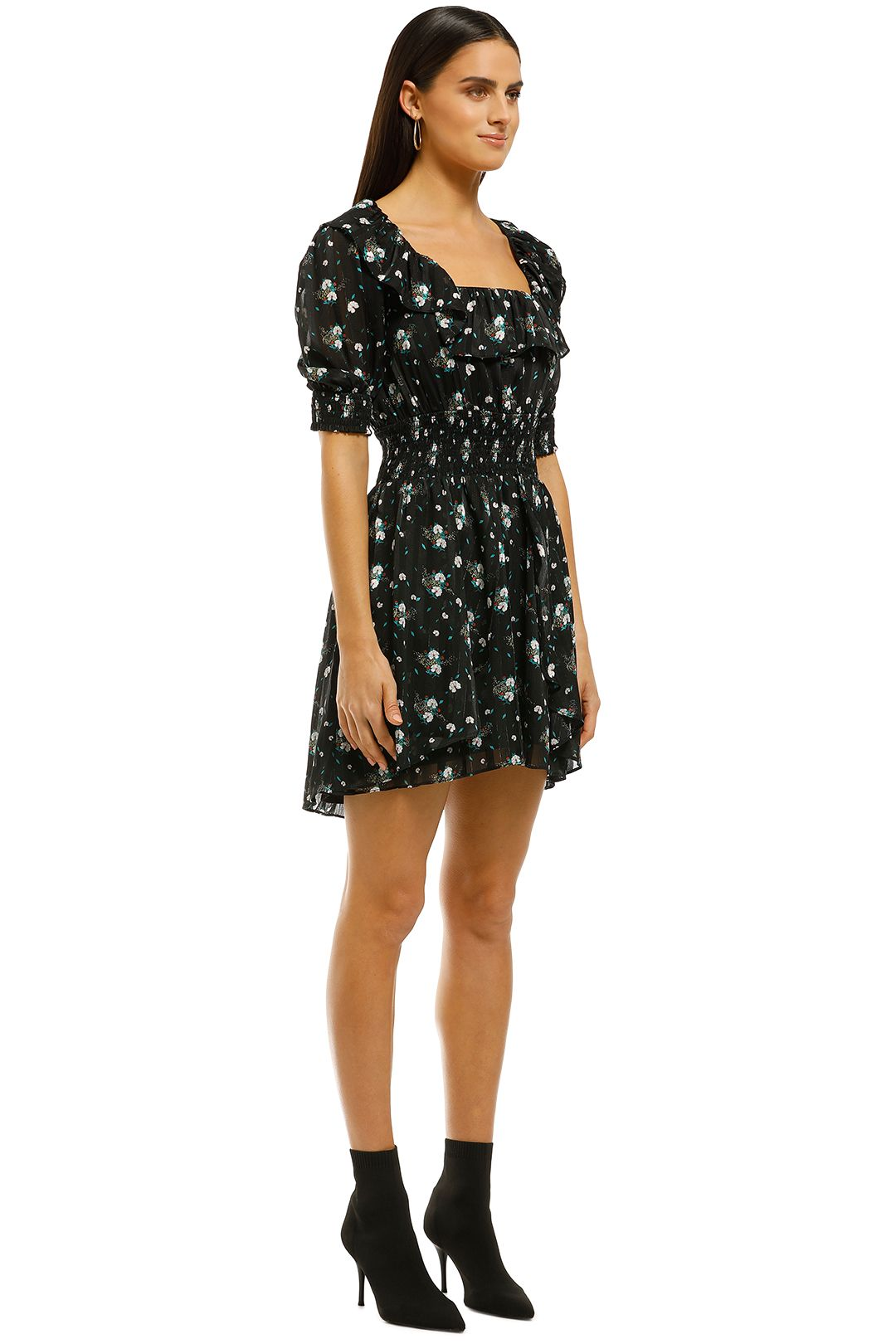 Elliatt - Posy Dress - Black Floral - Side