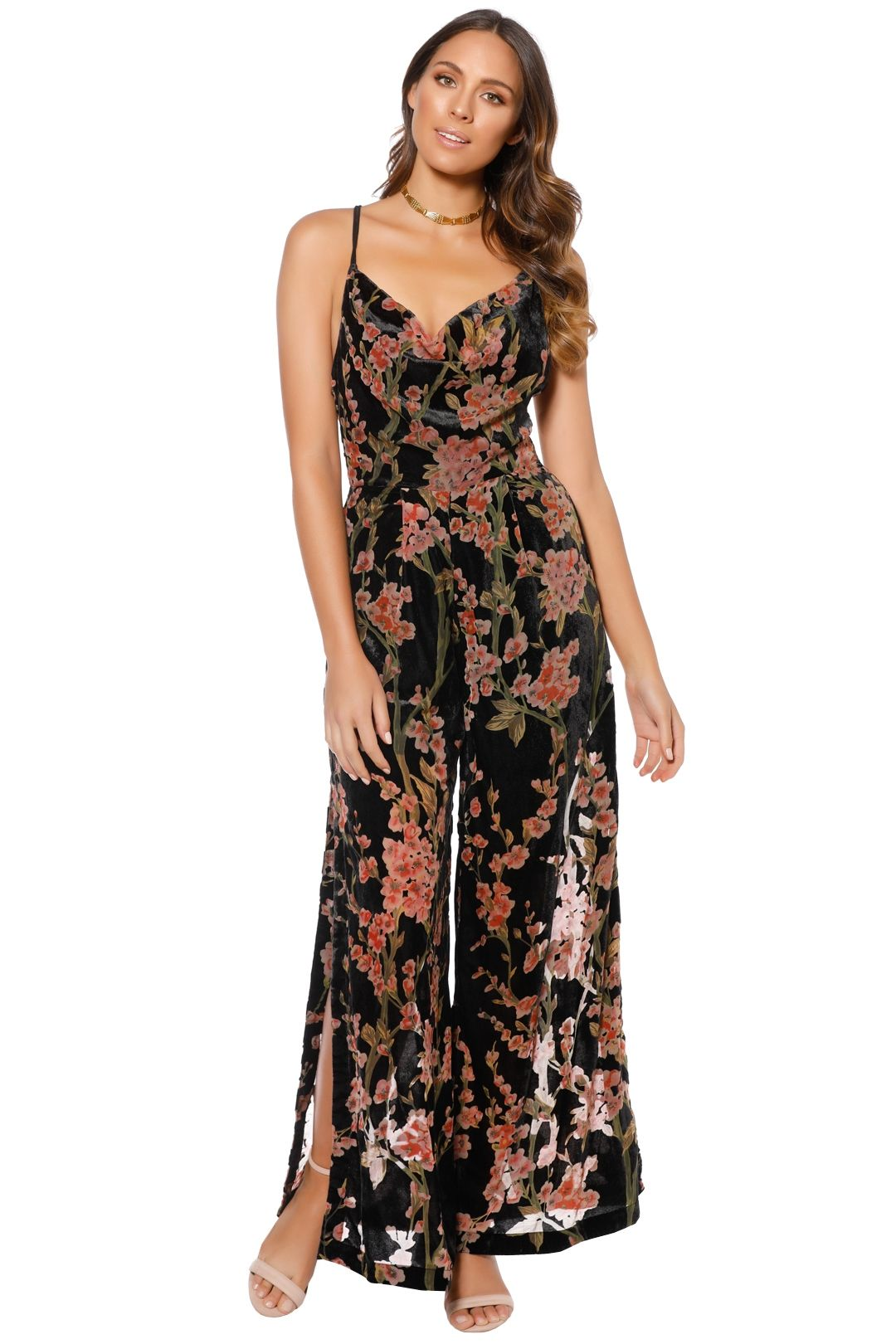 Elliatt - Salon Jumpsuit - Black Floral - Front