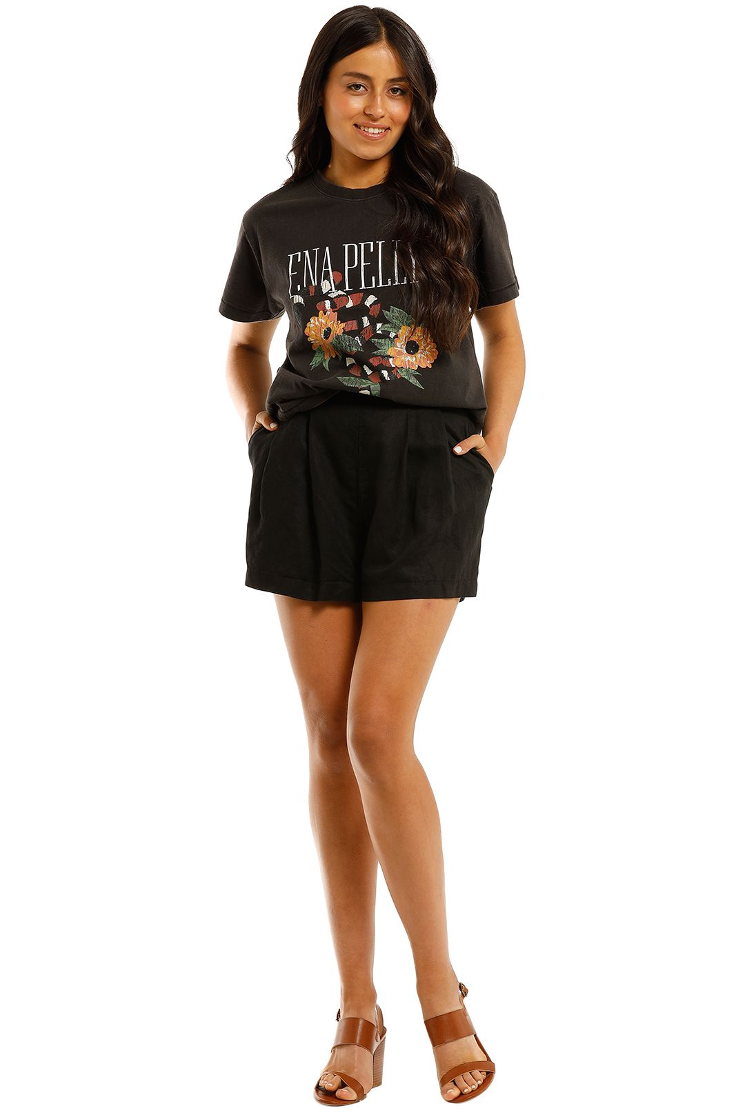 Ena-Pelly-Python-Bloom-Tee-Washed-Black-Front