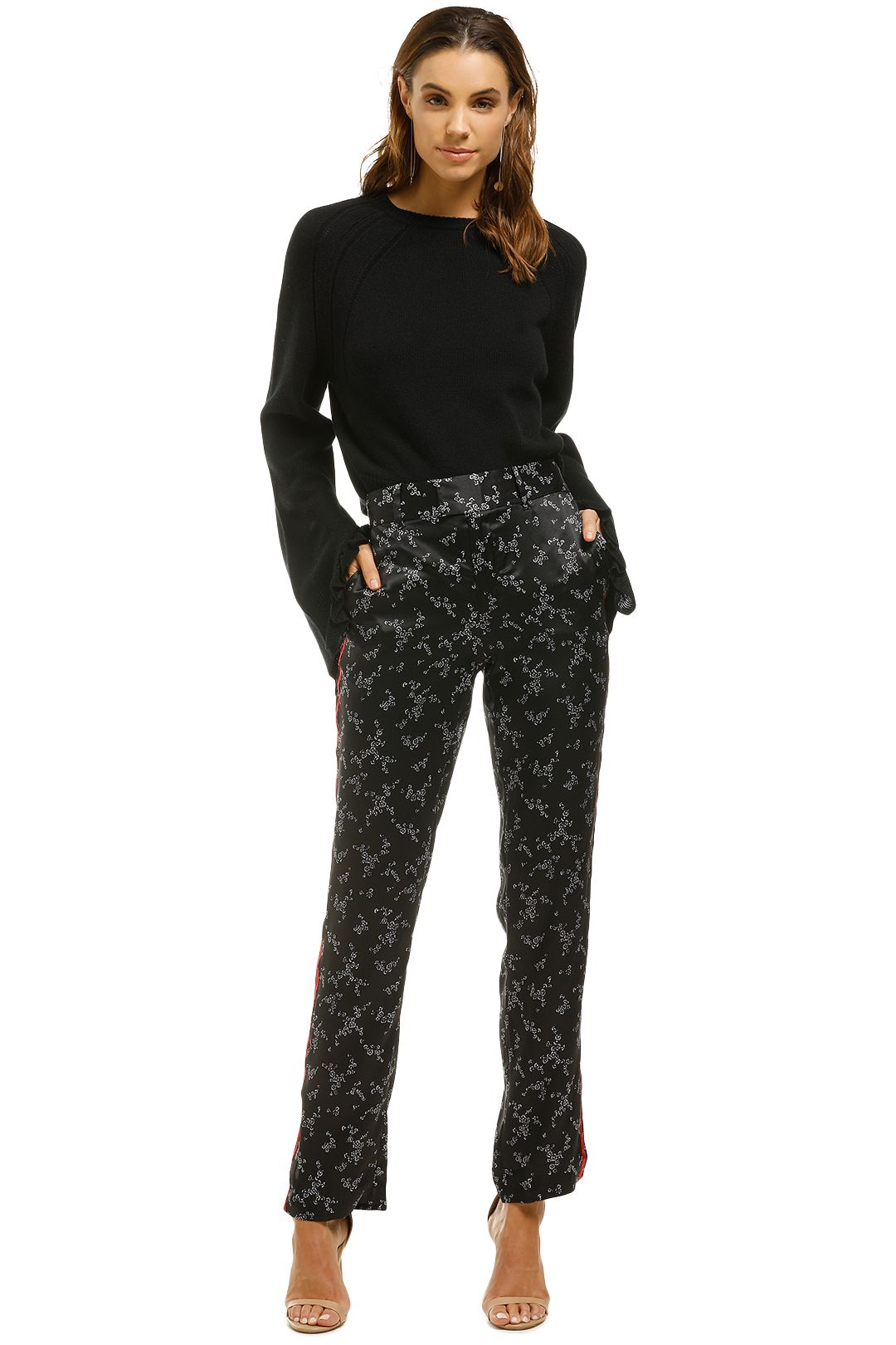 Equipment-Printed-Silk-Satin-Straight-Leg-Pant-Black-Floral-Front