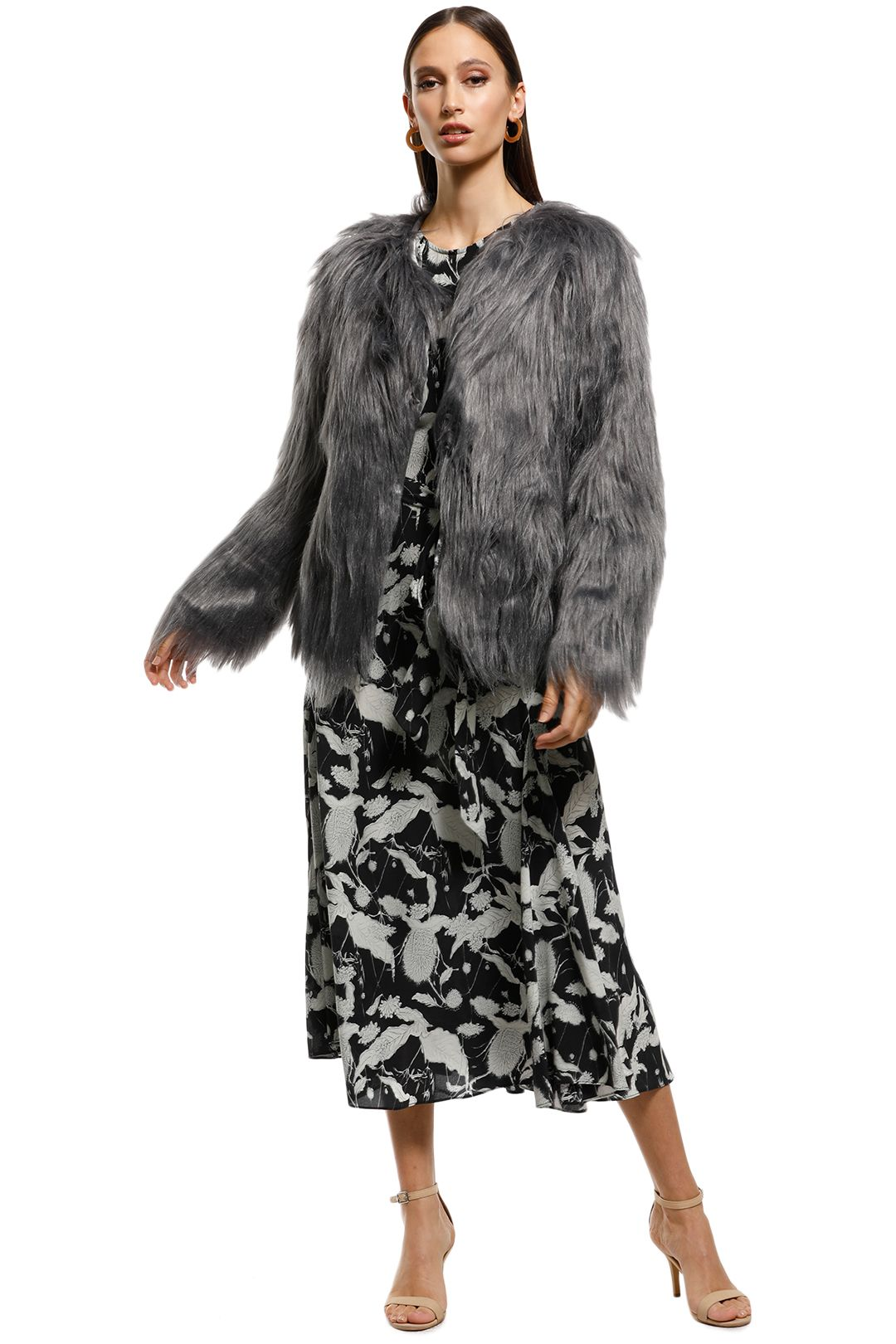 Everly - Marmont Faux Fur Jacket - Dark Grey - Front