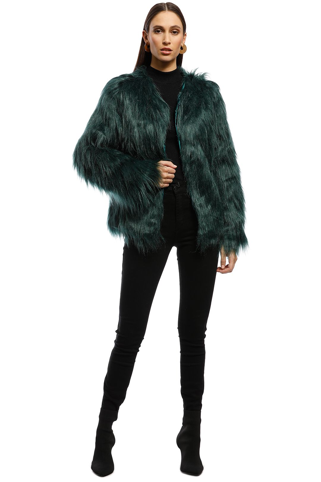 Everly - Marmont Faux Fur Jacket - Forest Green - Front
