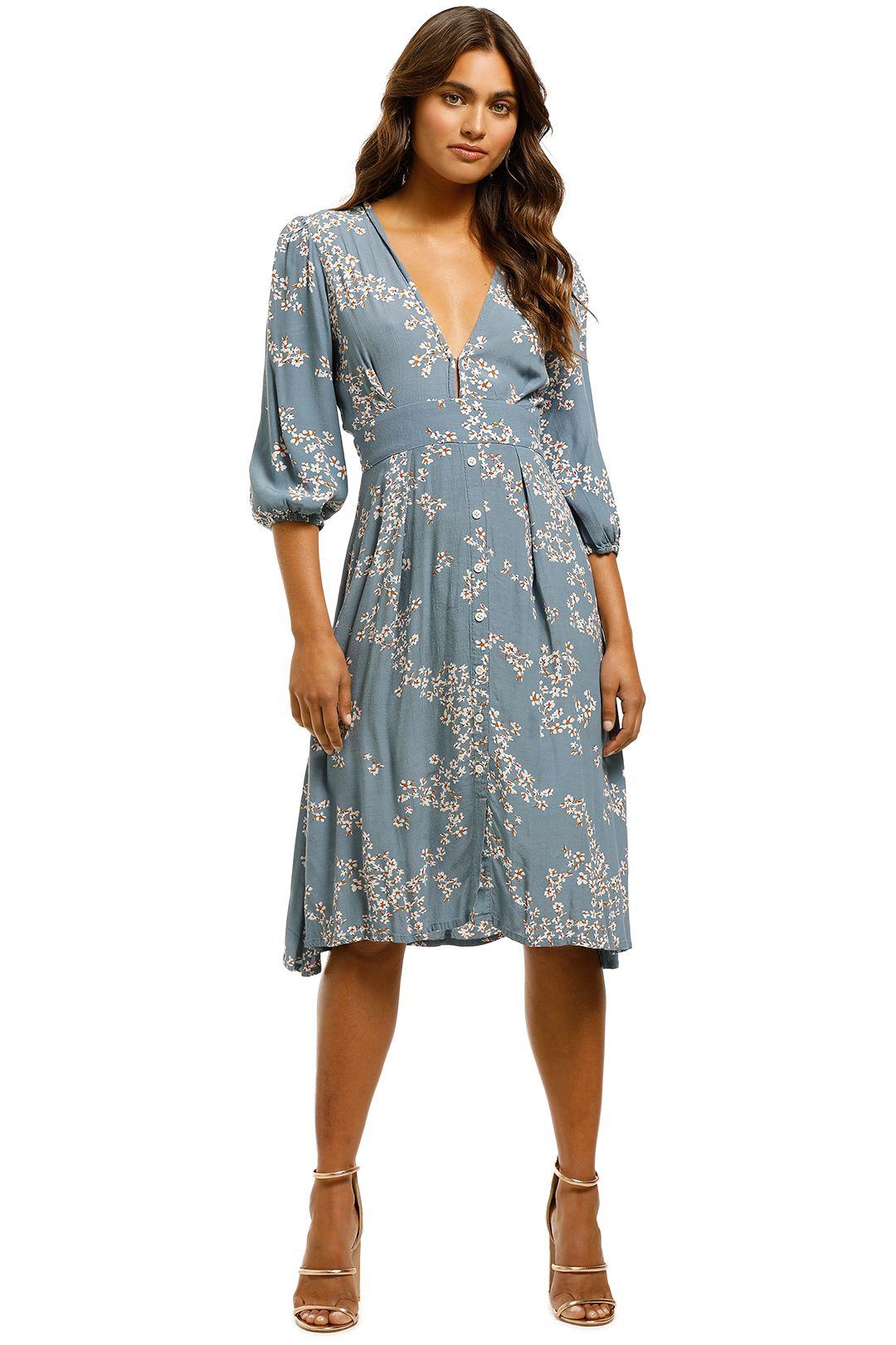 Faithfull - Chloe Midi Dress - Cornflower Blue - Front