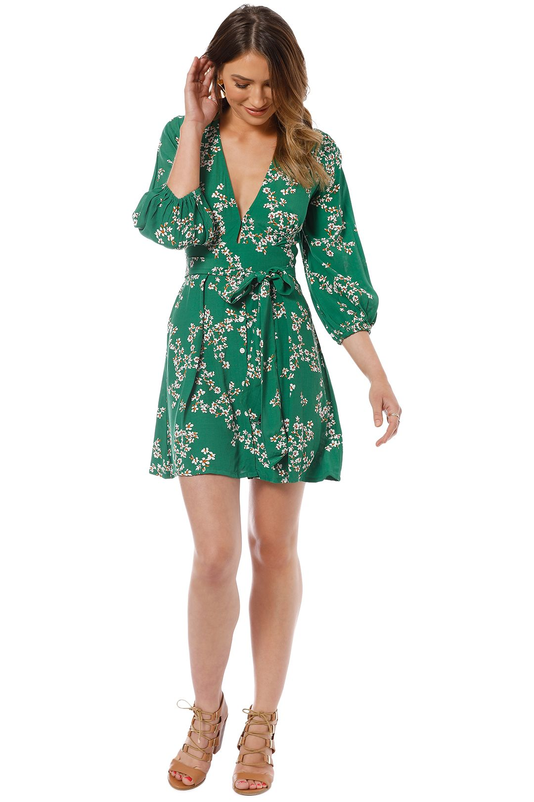 Faithfull - Margot Dress - Green Cap Estel Floral - Front